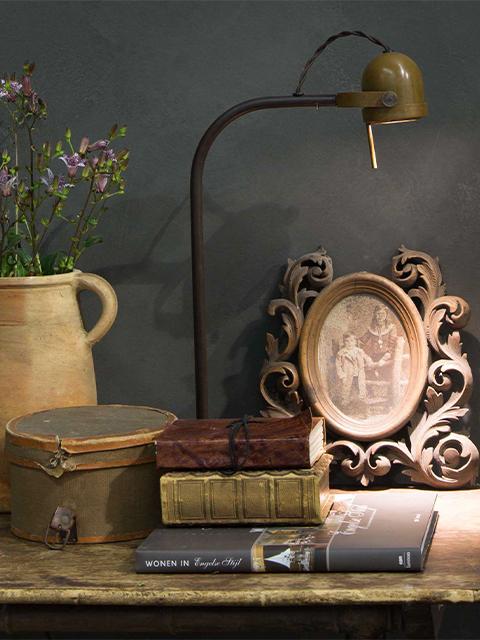 Frezoli Bureaulamp Tafellamp Spezia Bruin Koper De Potstal