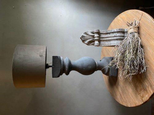 Frezoli Tafellamp Vigonza Grijs Zwart Hout De Potstal