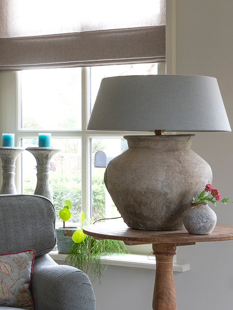 Kruiklamp Original Tafellamp met Linnen Kap De Potstal